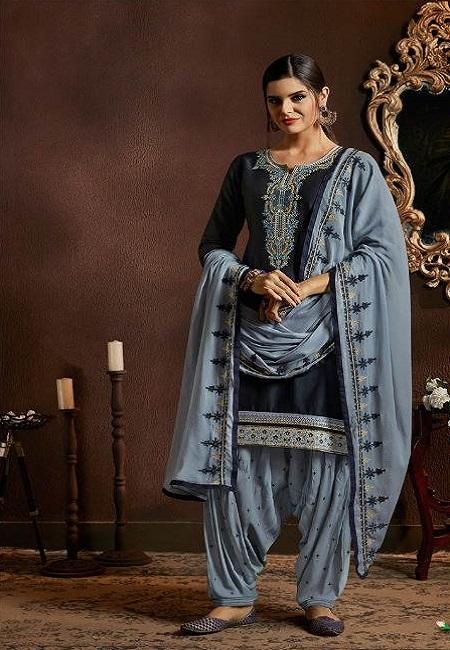 Deep Blue Designer Salwar Patiala Set (She Salwar 519)