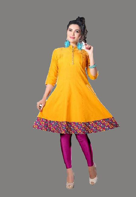 Golden Yellow Color Handloom Anarkali Kurti (She Kurti 570)