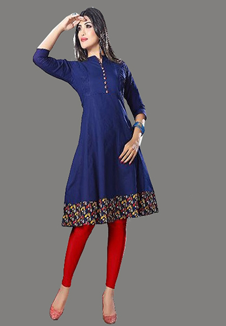 Deep Blue Color Handloom Anarkali Kurti (She Kurti 576)