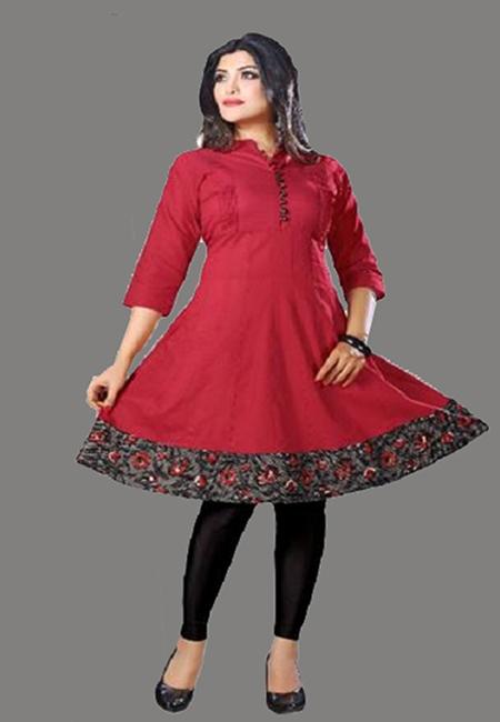 Maroon Color Handloom Anarkali Kurti (She Kurti 577)
