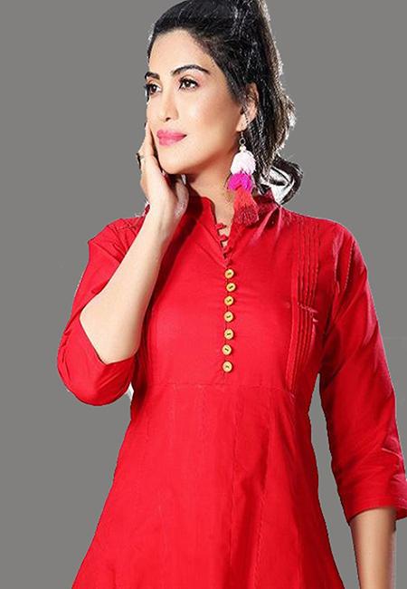 Red Color Handloom Anarkali Kurti (She Kurti 569)