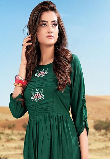 Bottle Green Color Handloom Rayon Kurti (She Kurti 578)