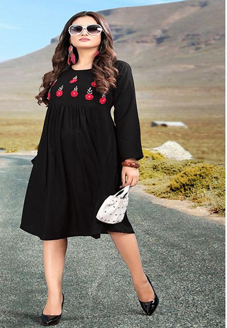 Black Color Handloom Rayon Kurti (She Kurti 581)