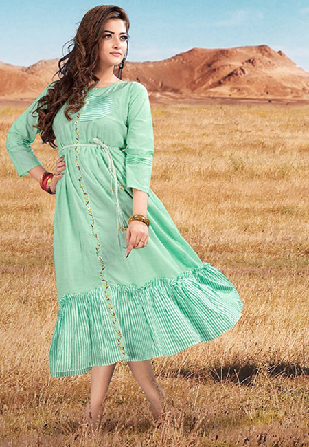 Sea Green Color Handloom Rayon Kurti (She Kurti 582)