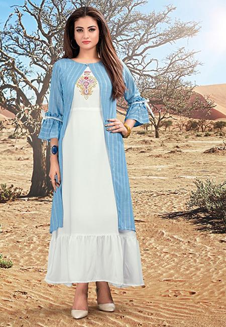 Off White Color Handloom Rayon Kurti (She Kurti 583)