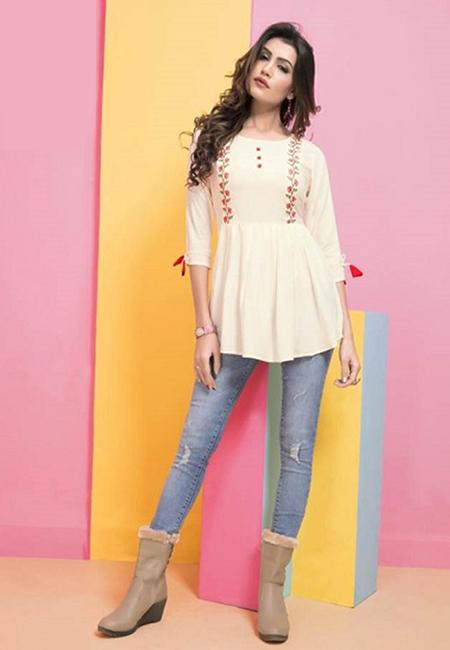 Off White Color Short Designer Top Kurti (She Kurti 593)