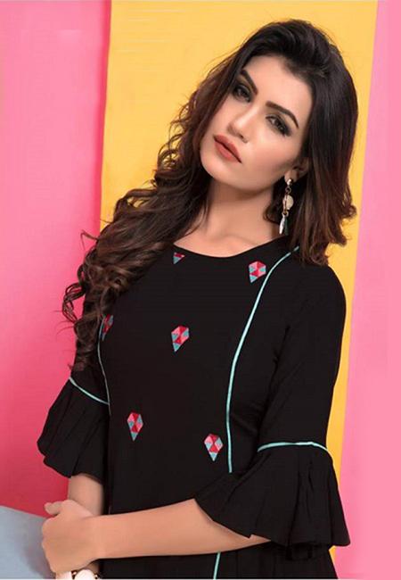 Black Color Short Designer Top Kurti (She Kurti 594)