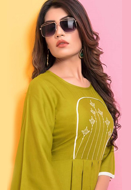 Pista Green Color Short Designer Top Kurti  (She Kurti 595)