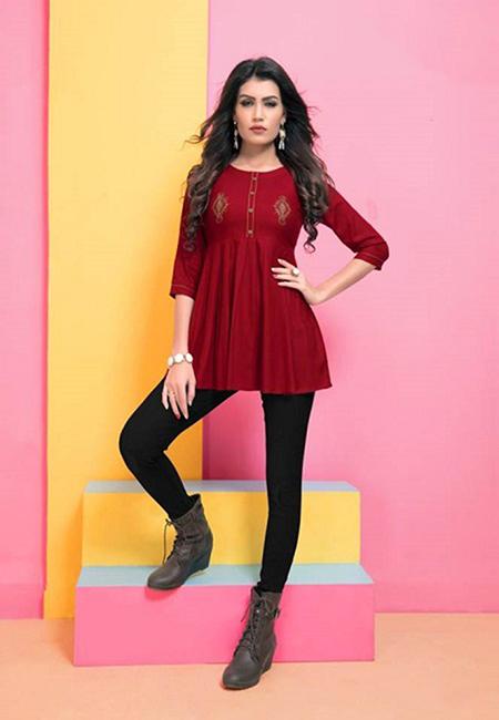 Maroon Color Short Designer Top Kurti (She Kurti 596)