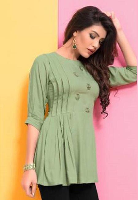 Pastel Green Color Short Designer Top Kurti (She Kurti 597)