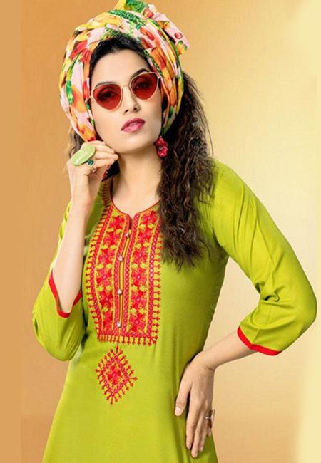 Olive Green Color Designer Rayon Embroidery Kurti (She Kurti 584)