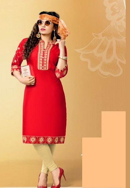 Red Color Designer Rayon Embroidery Kurti (She Kurti 587)