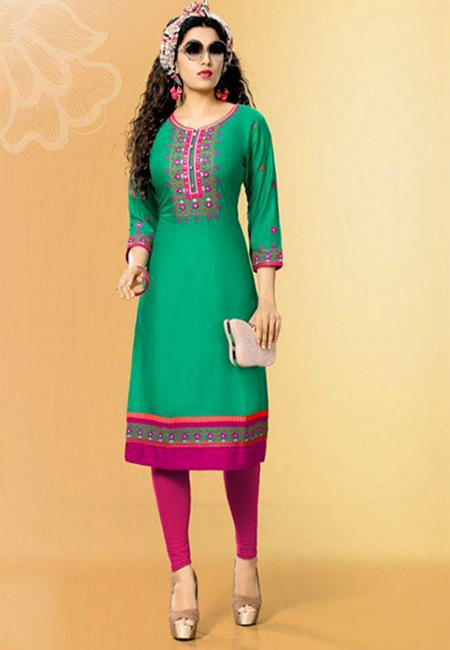 Deep Green Color Designer Rayon Embroidery Kurti (She Kurti 589)