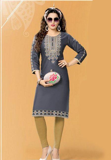 Deep Grey Color Designer Rayon Embroidery Kurti (She Kurti 591)