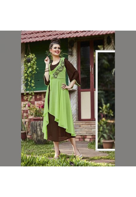 Olive Green Color Georgette Embroidered Designer Kurti (She Kurti 542)