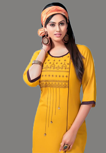 Mustard Color Embroidery Rayon Kurti (She Kurti 562)