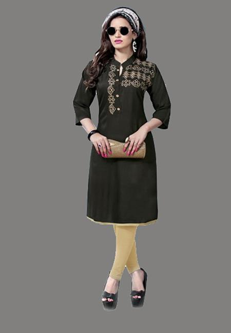 Black Color Embroidery Rayon Kurti (She Kurti 567)