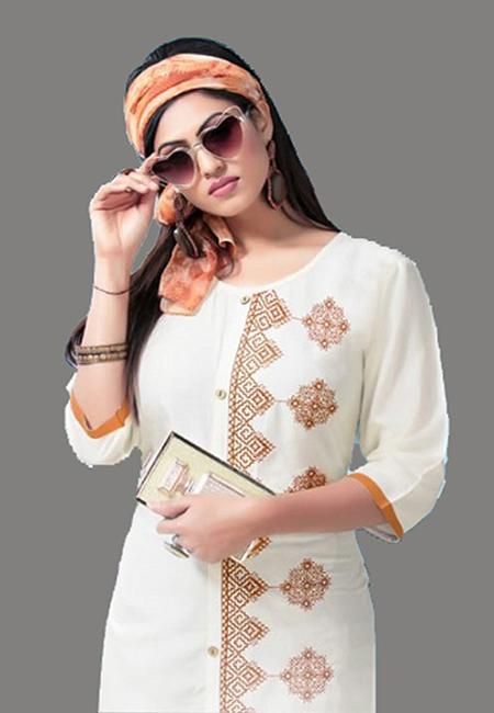 Off White Color Embroidery Rayon Kurti (She Kurti 568)