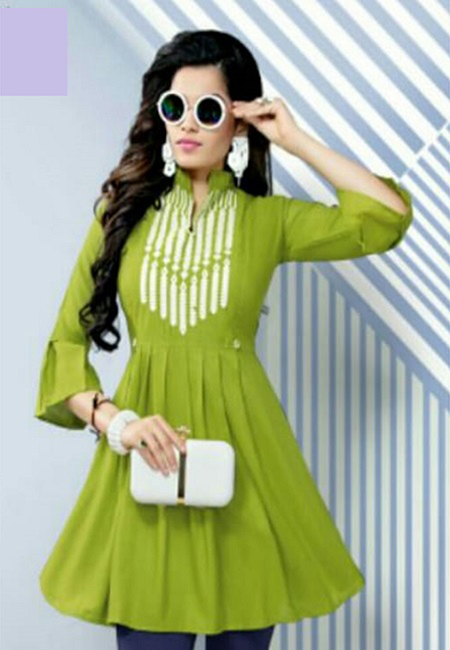 Olive Green Color Short Designer Top Kurti (She Kurti 618)
