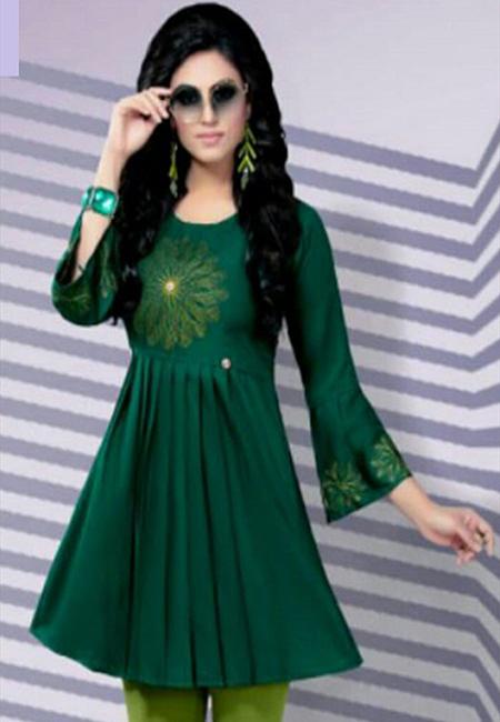 Deep Green Color Short Designer Top Kurti (She Kurti 625)