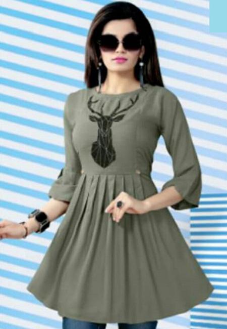 Grey Color Short Designer Top Kurti (She Kurti 626)