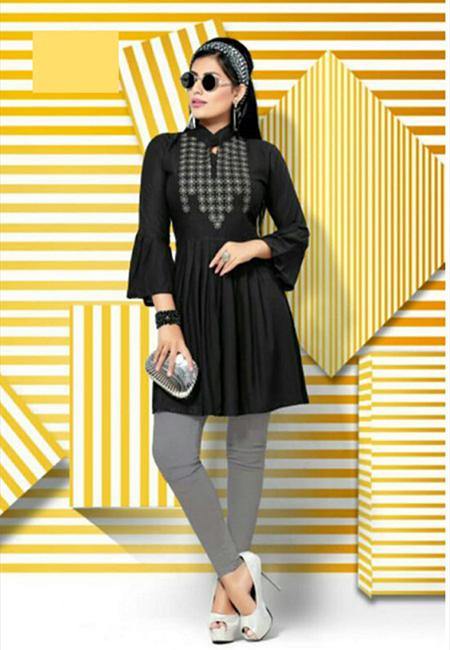 Black Color Short Designer Top Kurti (She Kurti 627)