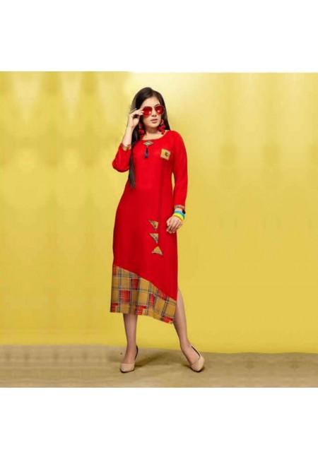 Red Color Embroidered Designer Kurti (She Kurti 531)