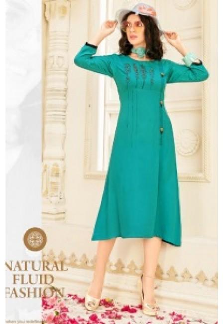 Sea Green Color Anarkali Style Cotton Kurti (She Kurti 647)