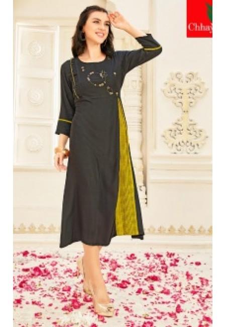 Deep Grey Color Anarkali Style Cotton Kurti (She Kurti 648)