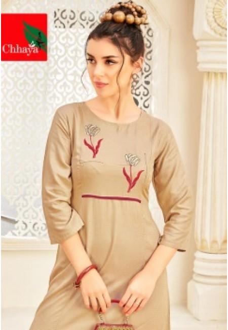 Beige Color Anarkali Style Cotton Kurti (She Kurti 649)