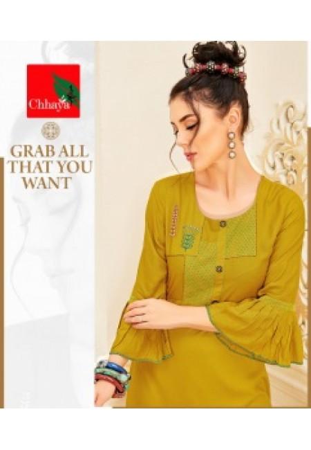 Olive Green Color Anarkali Style Cotton Kurti (She Kurti 650)