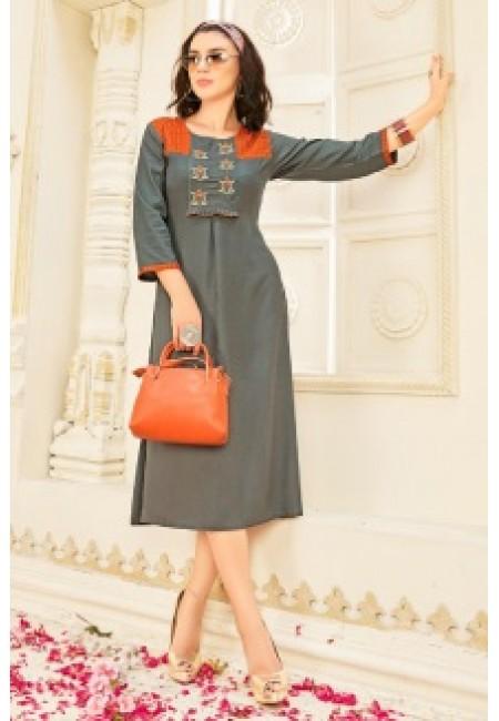 Grey Color Anarkali Style Cotton Kurti (She Kurti 651)