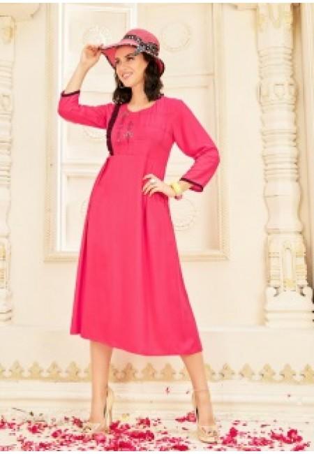 Hot Pink Color Anarkali Style Cotton Kurti (She Kurti 654)