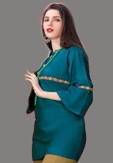 Turquoise Green Color Short Designer Kurti (She Kurti 598)