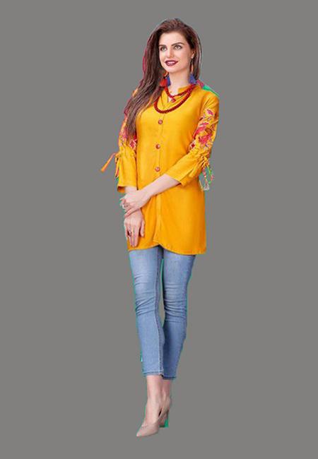 Mustard Color Short Designer Kurti (She Kurti 599)
