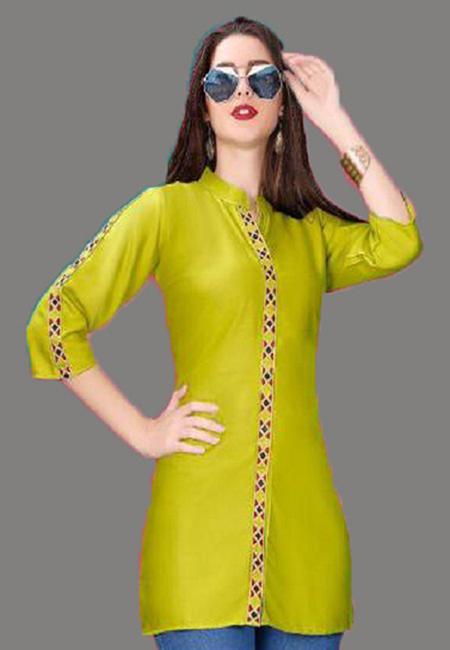 Pista Green Color Short Designer Kurti (She Kurti 600)