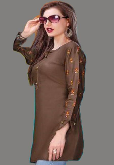 Deep Brown Color Short Designer Kurti (She Kurti 601)