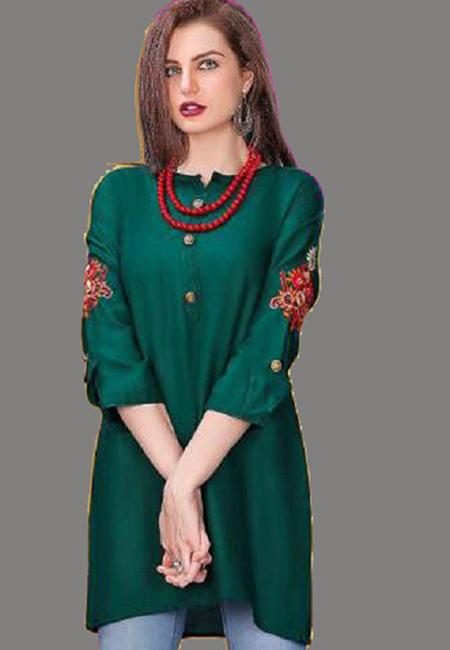 Bottle Green Color Short Designer Kurti (She Kurti 605)