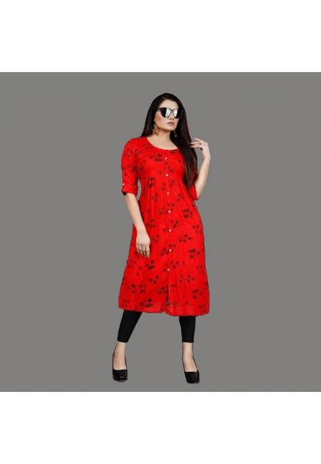 Red Color Printed Rayon Kurti (She Kurti 553)