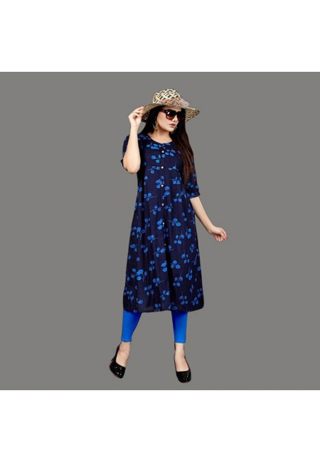 Navy Blue Color Printed Rayon Kurti (She Kurti 559)