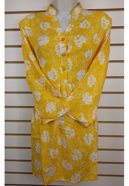 Mustard Color Printed Linen Top (She Kurti 637)