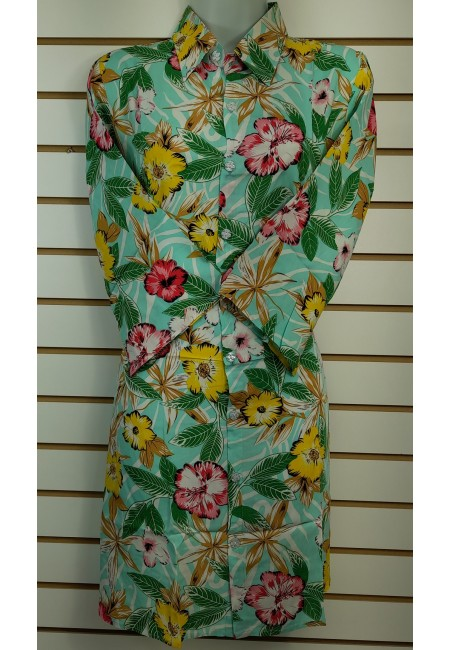 Olive Green Color Printed Linen Top (She Kurti 629)