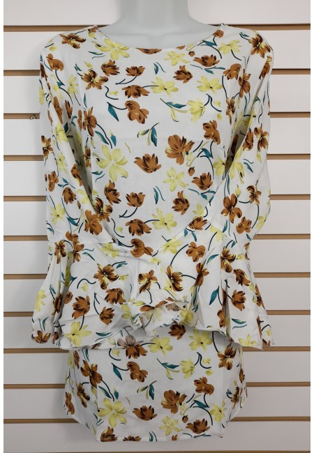 Off White Color Printed Linen Top (She Kurti 636)
