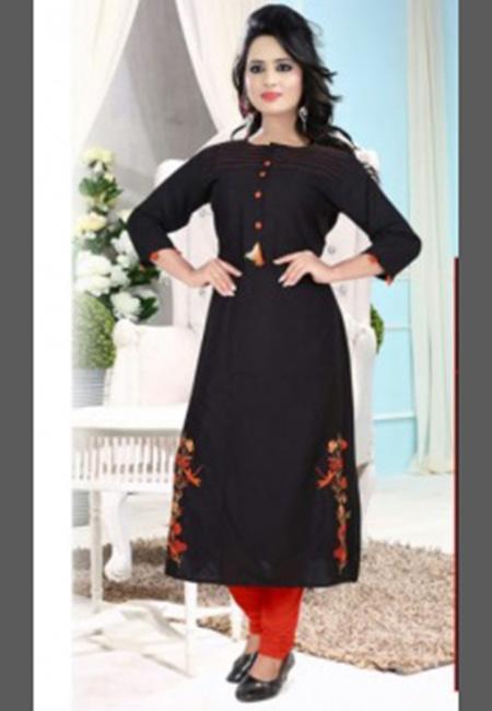 Black Color Cotton Long Kurti (She Kurti 642)