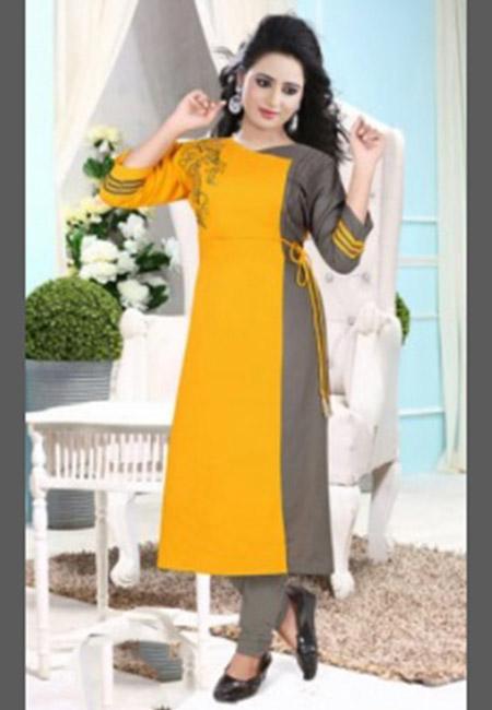 Mustard Yellow Color Cotton Long Kurti (She Kurti 643)