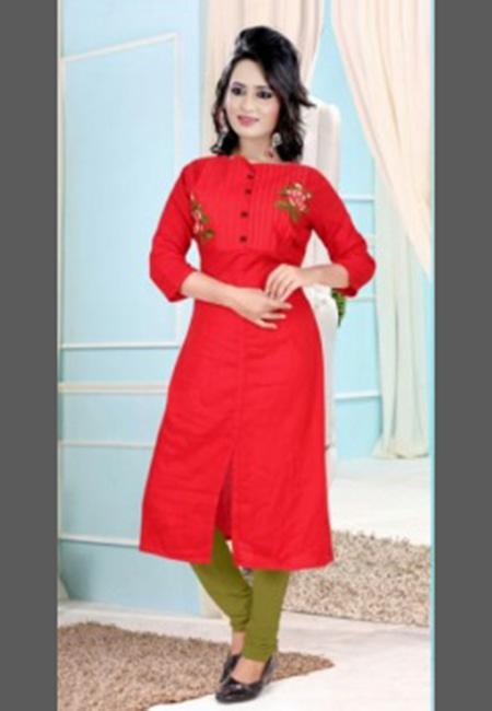 Red Color Cotton Long Kurti (She Kurti 645)