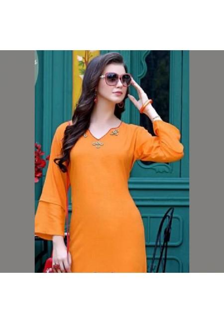 Orange Color Emroidered Kurti (She Kurti 503)