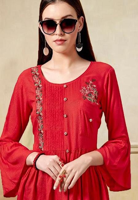 Red Color Western Style Top Kurti (She Kurti 609)