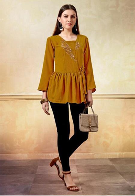 Mustard Color Western Style Top Kurti (She Kurti 614)