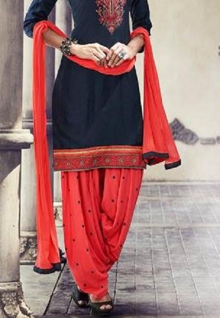 Navy Blue Color Designer Salwar Patiala Set (She Salwar 506)